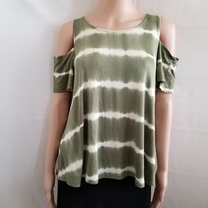 Women's Green Stripe Cold Shoulder Top